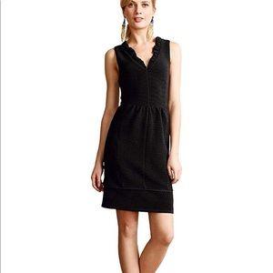 Anthropologie Maeve black ruffle ottoman dress L